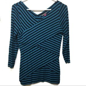 Vince Camuto blue black striped tiered wrap top PM